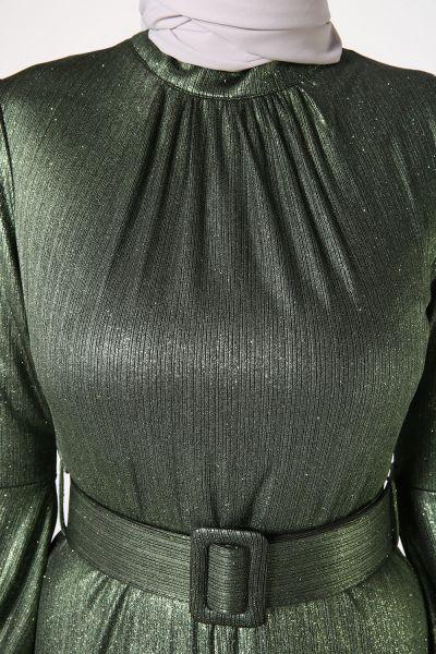 Kemerli Simli Abiye Elbise