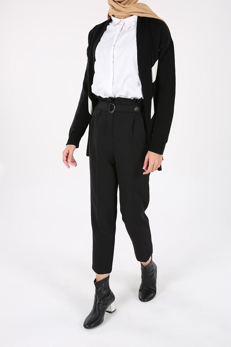 Kemerli Yüksek Bel Boru Paça Pantolon