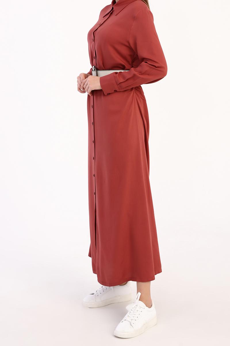 Kemerli Viskon Gömlek Elbise