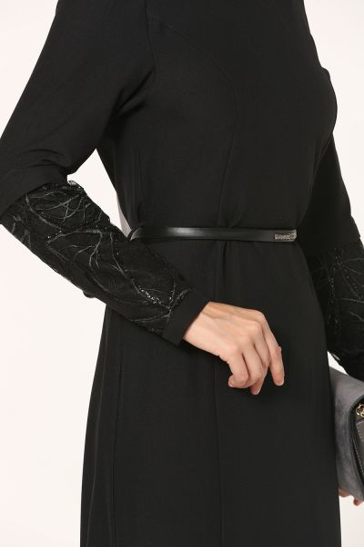Kemerli Kol Detaylı Kloş Elbise