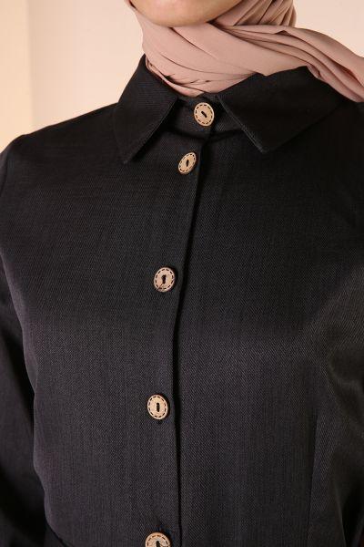 Kuşaklı Gömlek Elbise