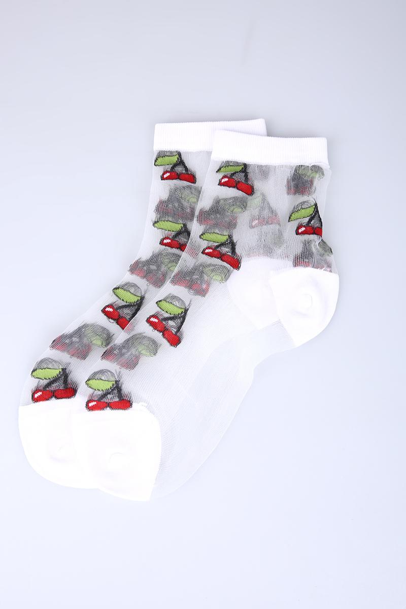 Kiraz Desenli Soket Tül Çorap