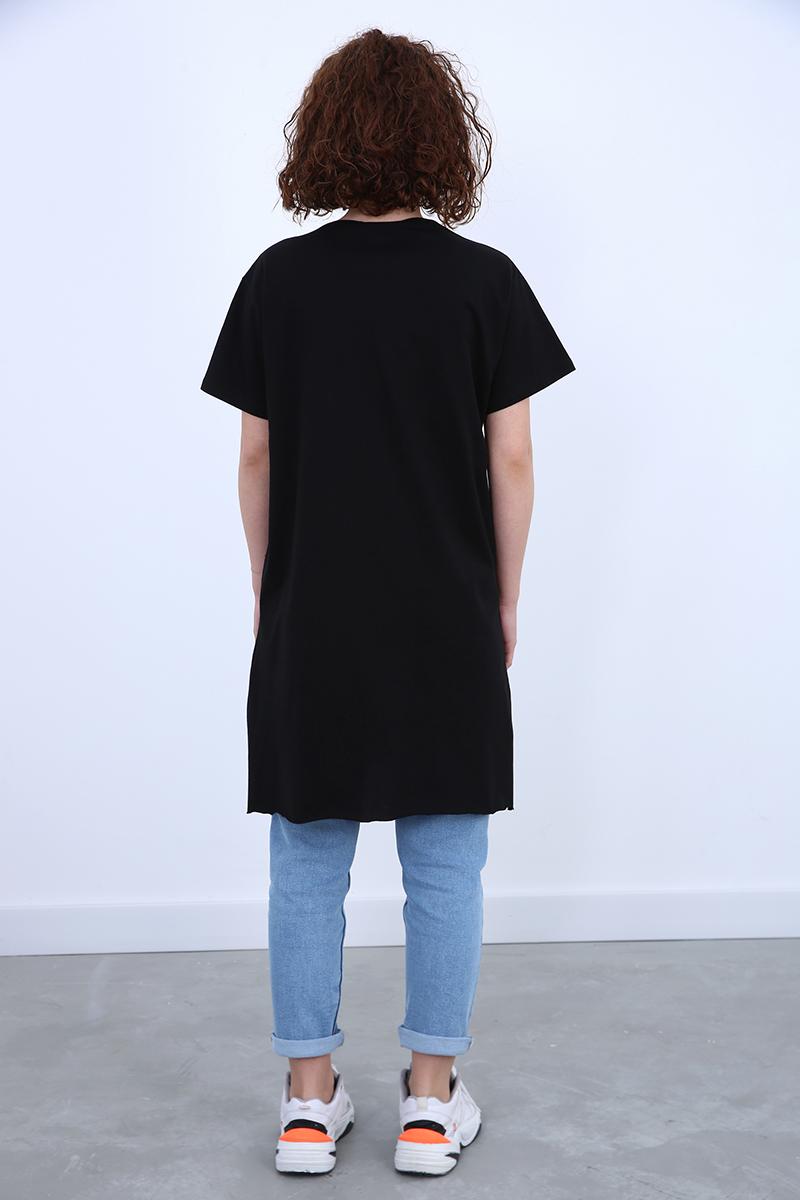 Kısa Kollu Yırtmaç Detaylı Basic T-Shirt
