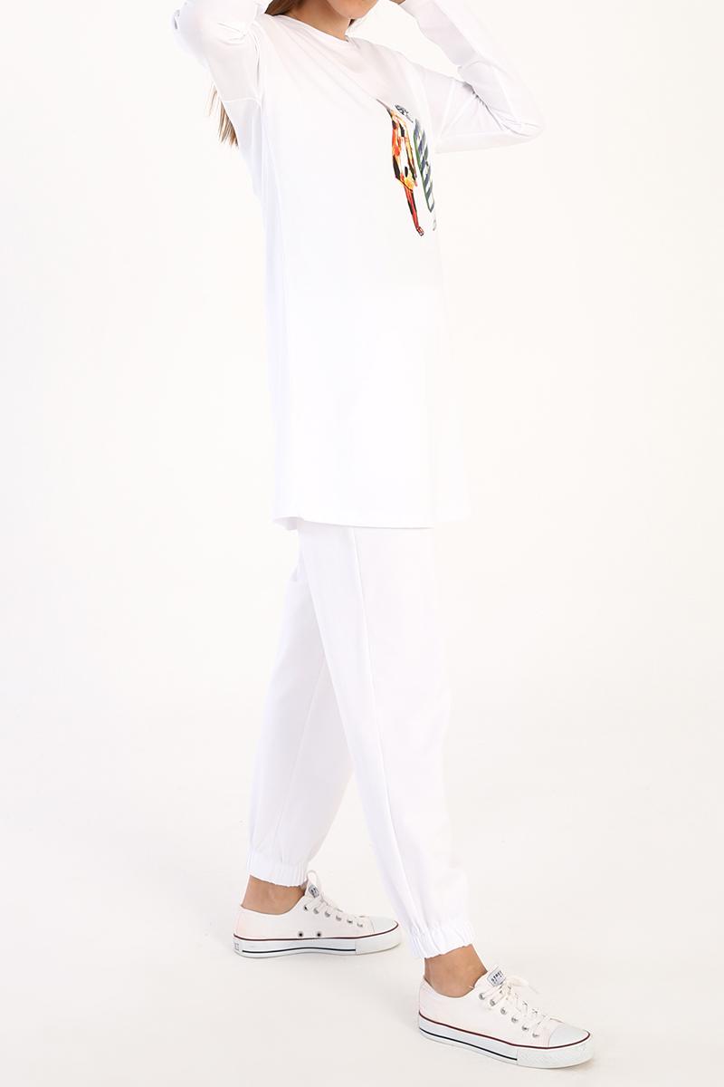 Kız Baskılı Uzun Kollu T-Shirt Tunik
