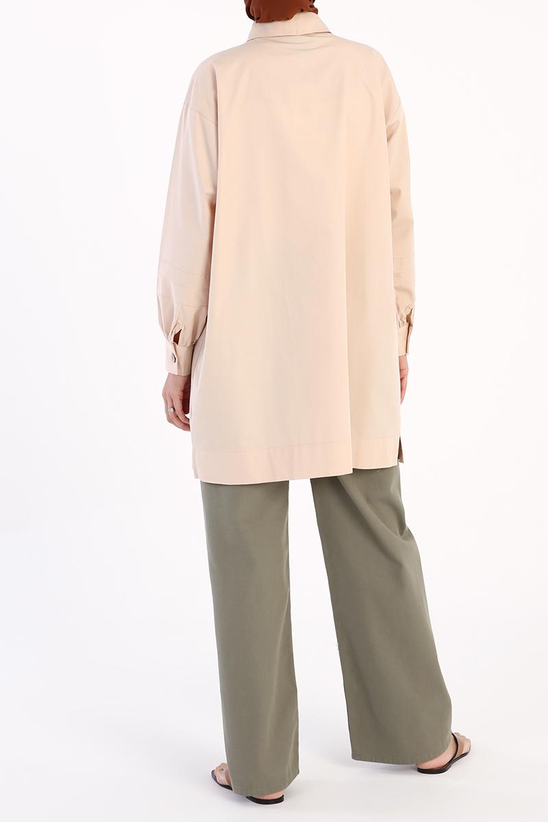 Kol Nervür Detaylı Gömlek Tunik