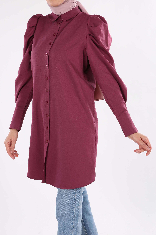 Kol Pile Detaylı Gömlek Tunik