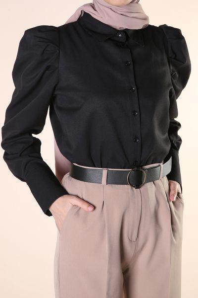 Kol Pileli Düğmeli Gömlek Tunik