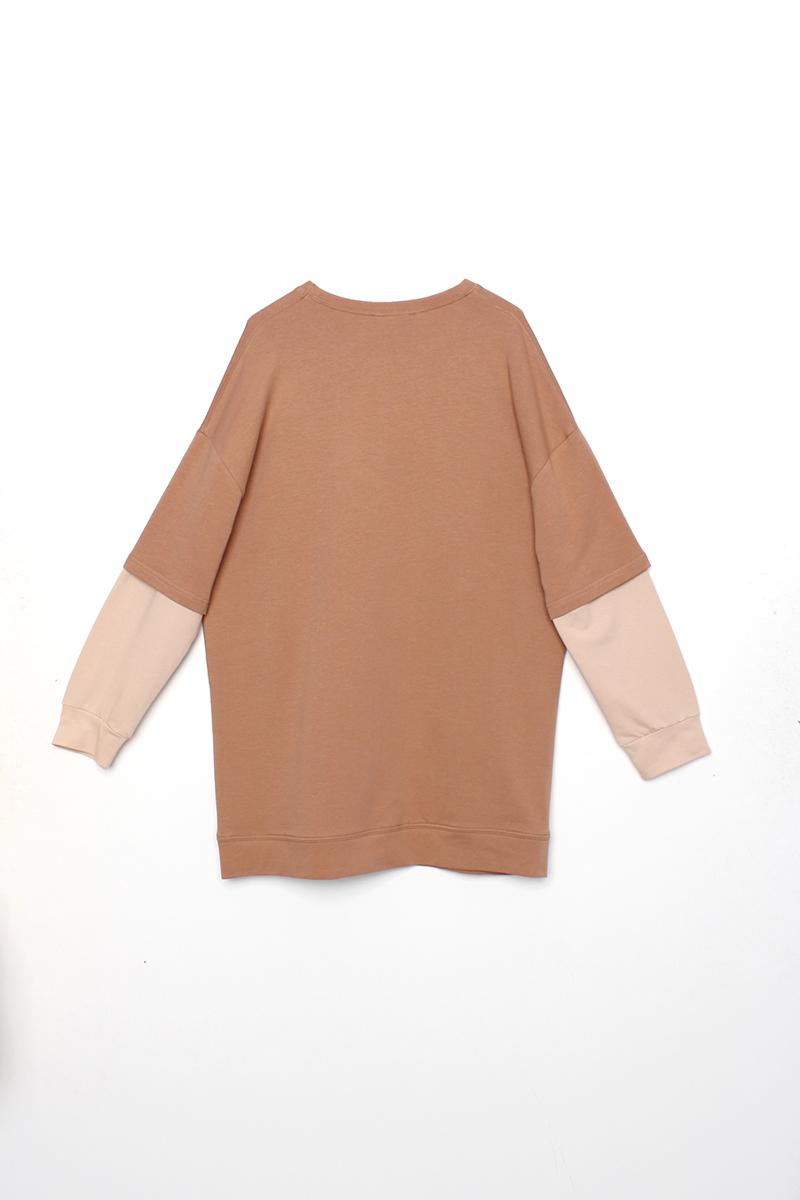 Kolları Garnili Baskılı Sweatshirt