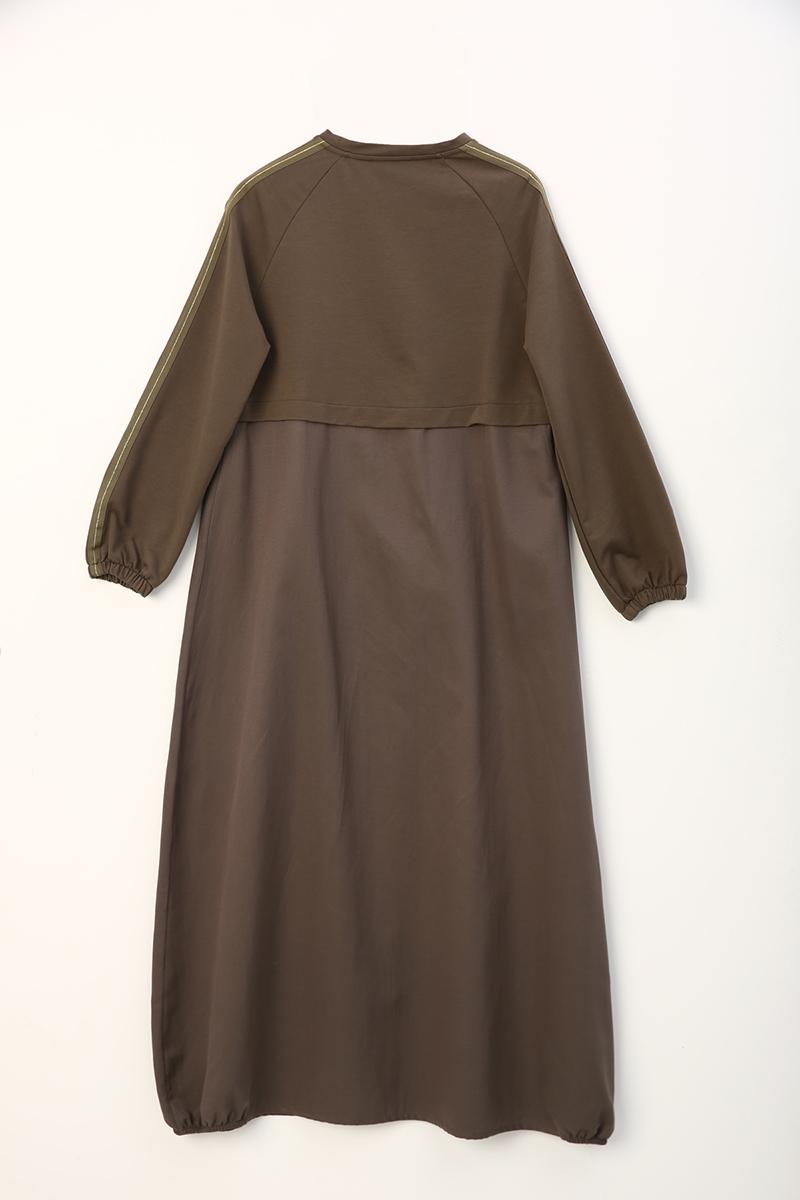 Kolları Şeritli Elbise