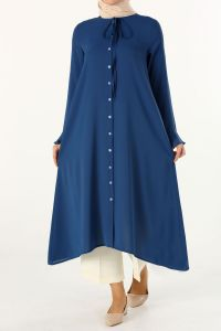 Kolu Volanlı Yaka Bağcıklı Gömlek Tunik