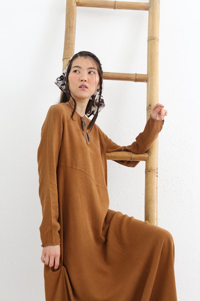 Kolyeli Keten Elbise