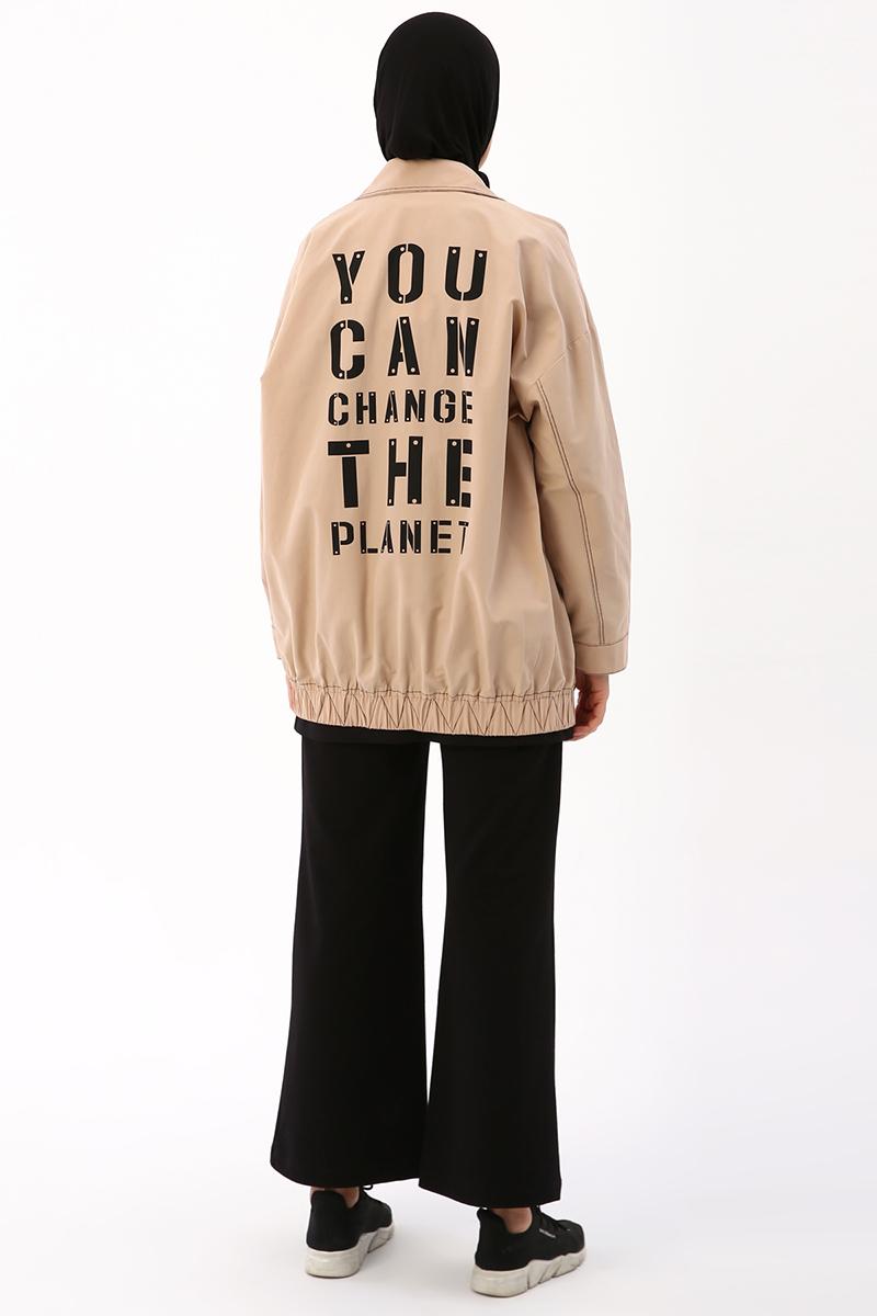 Kontrast Dikişli Baskılı Ceket