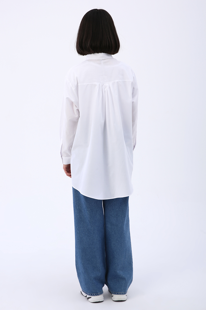 Kumaş Kaplamalı Düğmeli Oversize Gömlek