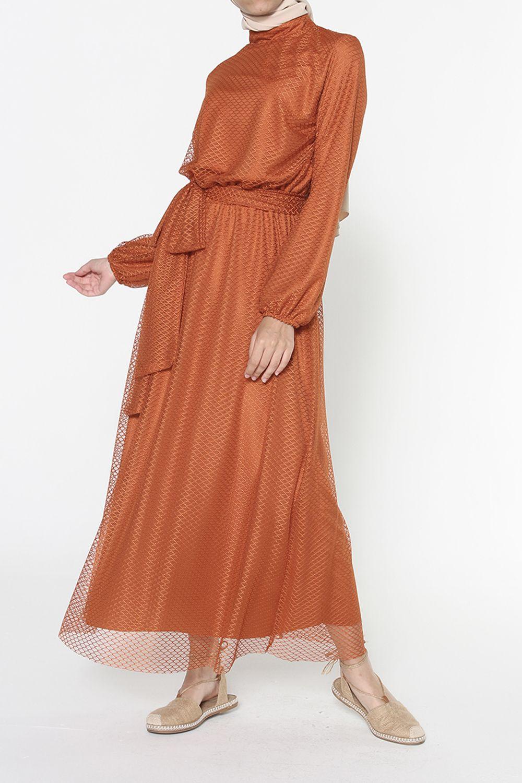 Belden Lastikli Kuşaklı Elbise