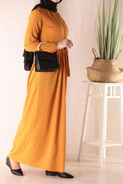 Kuşaklı Fermuarlı Elbise