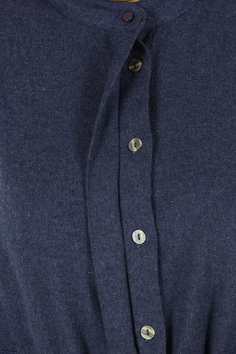 Kuşaklı Patlı Düğmeli Gömlek Elbise
