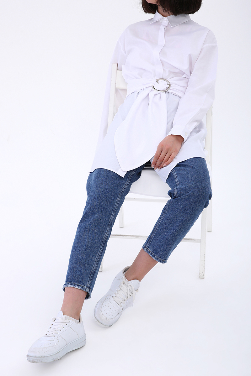 Kuşaklı Rahat Kalıp Gömlek Tunik