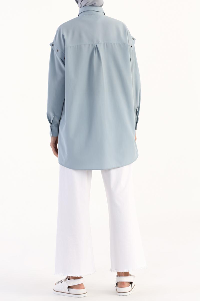 Kuşgözü Detaylı Oversize Gömlek