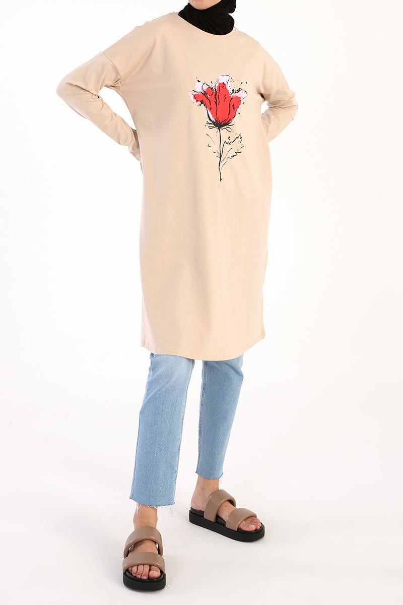 Lale Baskılı Uzun Kollu T-Shirt Tunik