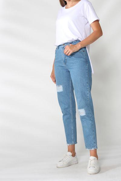 Cepli Yamalı Mom Kot Pantolon