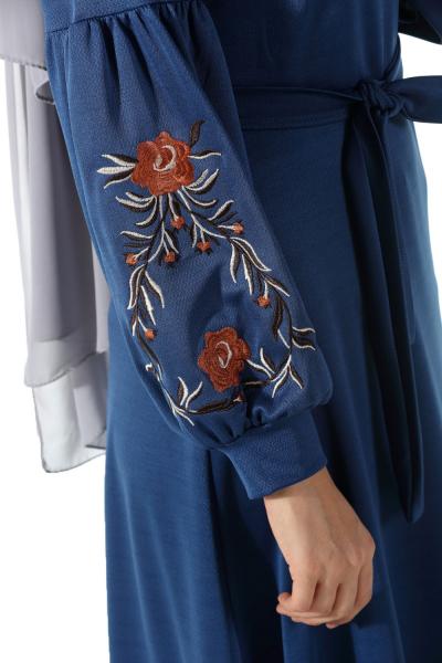 Nakışlı Kuşaklı Elbise