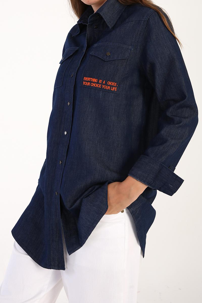 Nakışlı Lyocell Karışımlı Gömlek Tunik