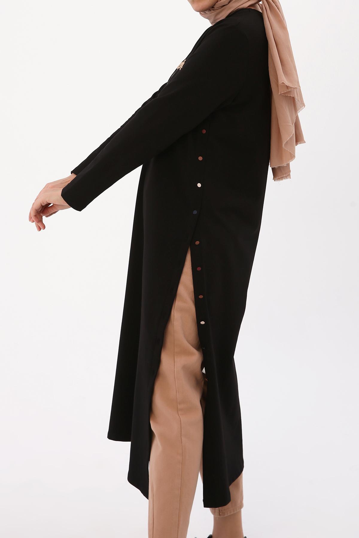 Nakışlı Renkli Düğmeli Elbise Tunik