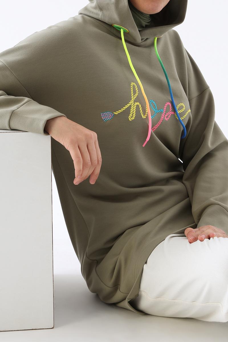 Nakışlı Renkli Kordonlu Sweat Tunik