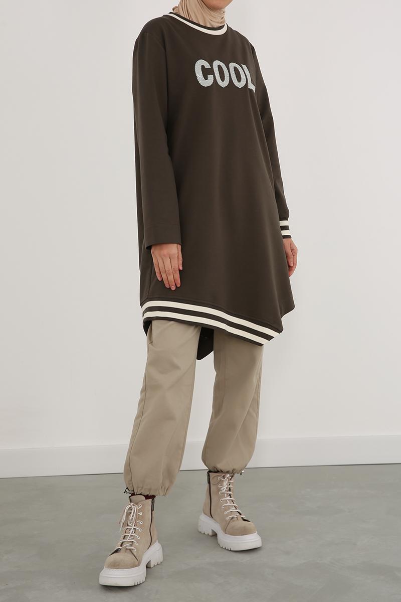 Nakışlı Ribanalı Sweat Tunik