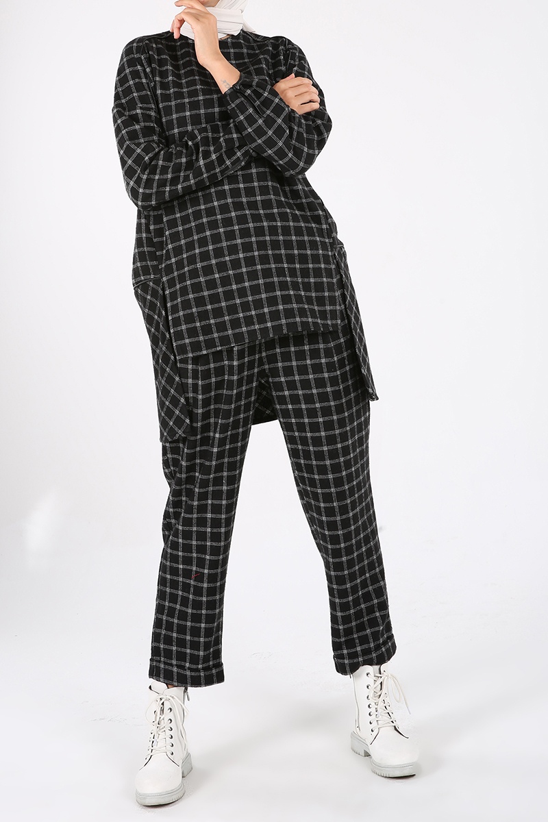 Oduncu Ekoseli Biyeli Pantolonlu Takım