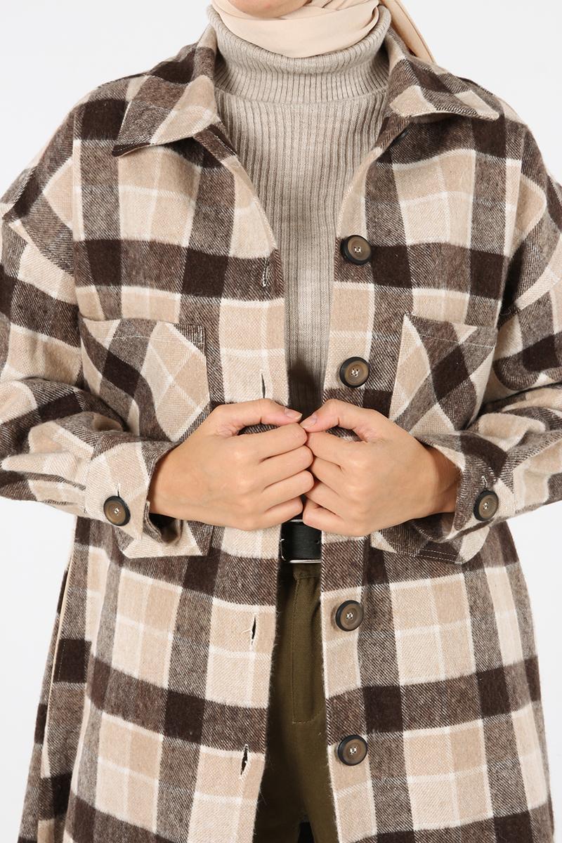 Oduncu Ekoseli Püsküllü Rahat Kalıp Ceket