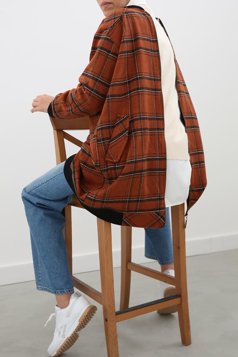 Oduncu Ekoseli Ribanalı Cepli Fermuarlı Ceket