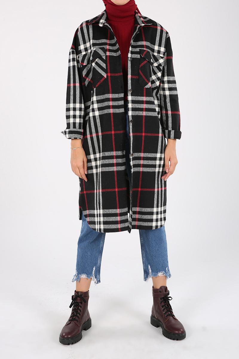 Oduncu Düğme ve Cep Detaylı Gömlek Tunik