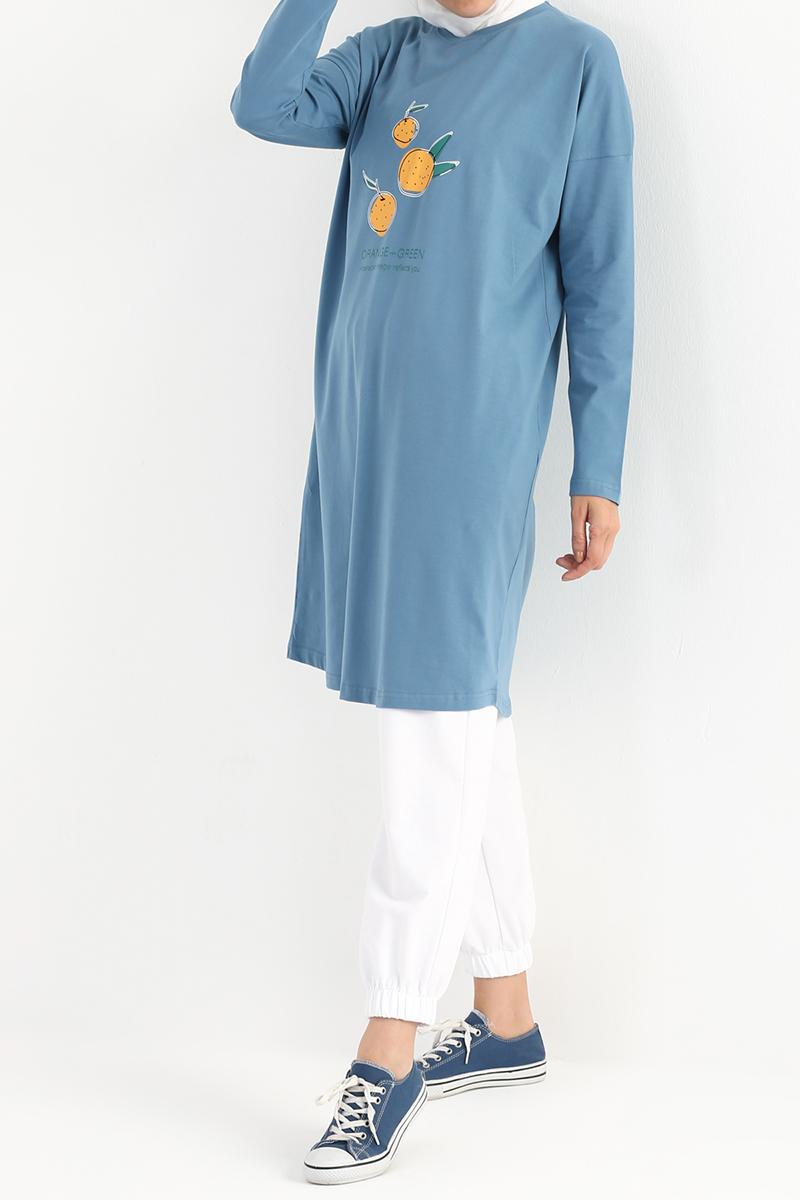 Orange Green Baskılı Uzun Kollu T-Shirt Tunik