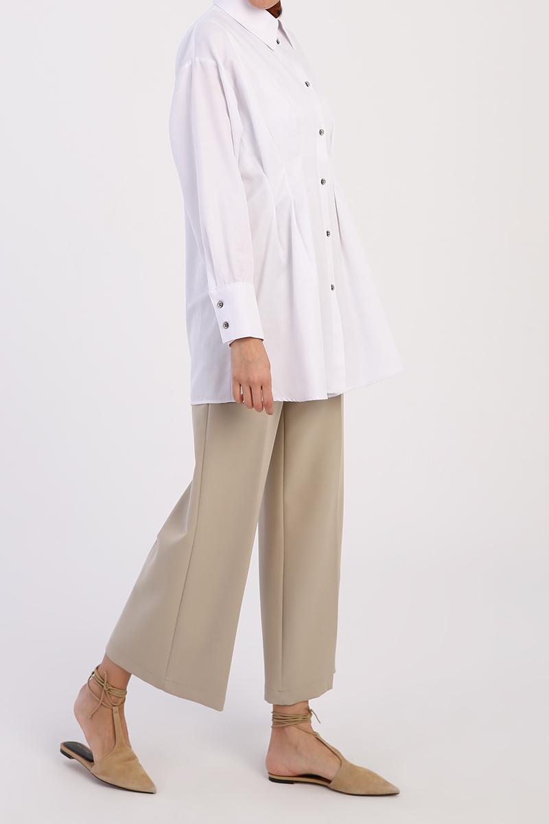 Oversize Pileli Gömlek Tunik