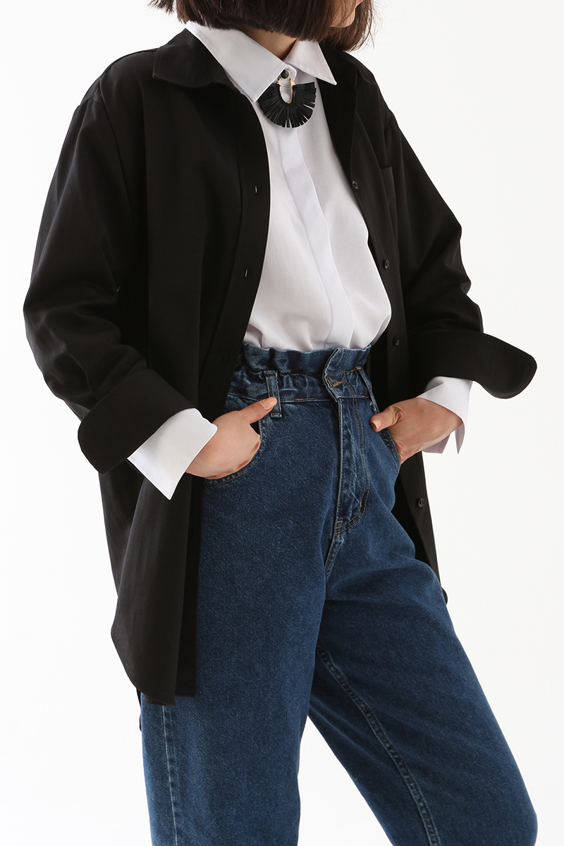 Oversize Yüksek Manşetli Gömlek Tunik