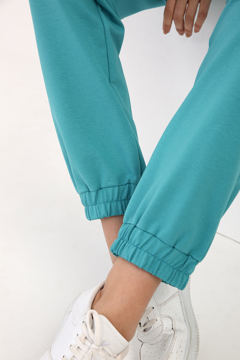 Paça Lastikli Nakışlı Pantolon