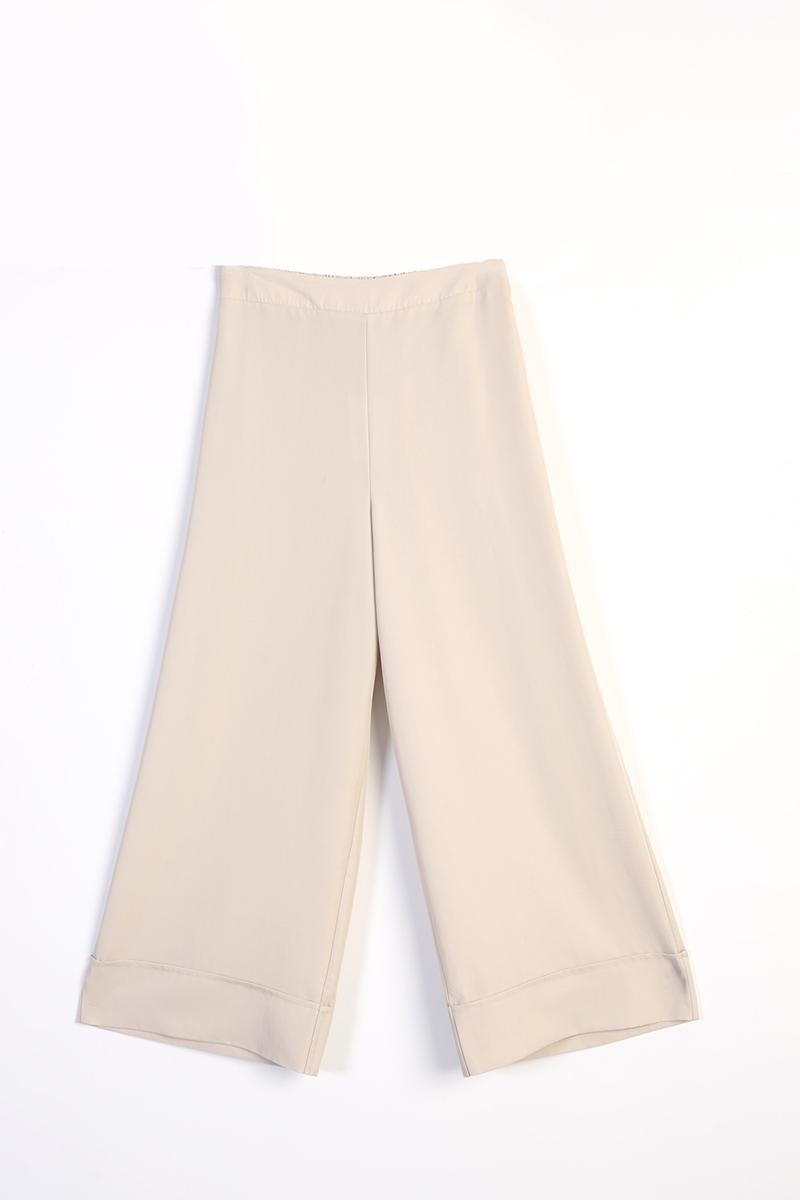 Paçası Kalın Katlamalı Tensel Pantolon
