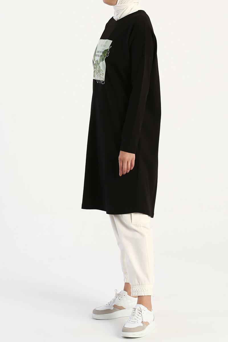 Palmiye Baskılı Uzun Kollu T-Shirt Tunik