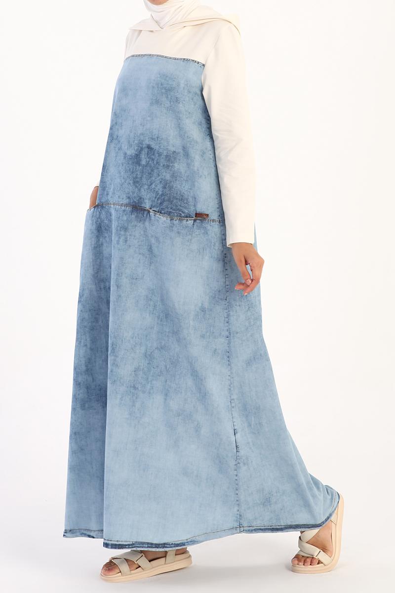 Kapüşonlu Cepli Denim Elbise