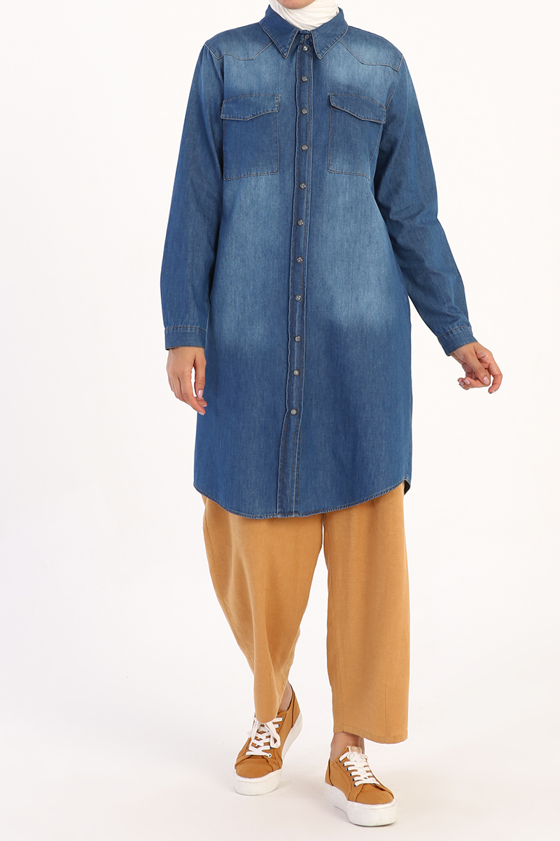 Cepli Çıtçıtlı Pamuklu Denim Gömlek Tunik