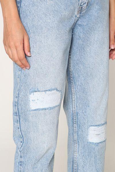 Düğmeli Denim Mom Pantolon