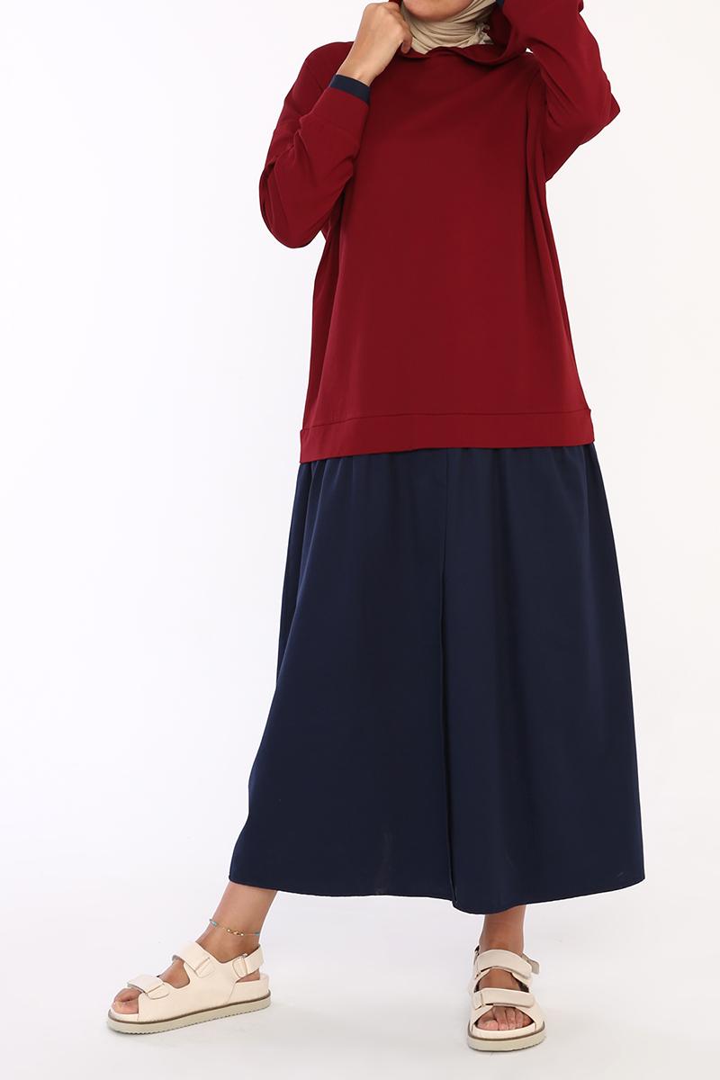 Pamuklu Kapüşonlu Sweat Elbise