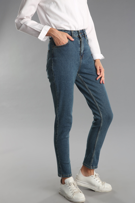 Pamuklu Yüksek Bel Jean Pantolon