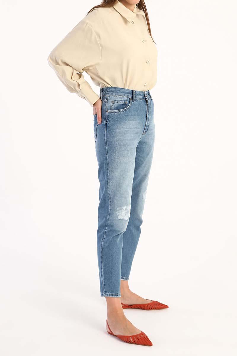Pamuklu Mom Pantolon