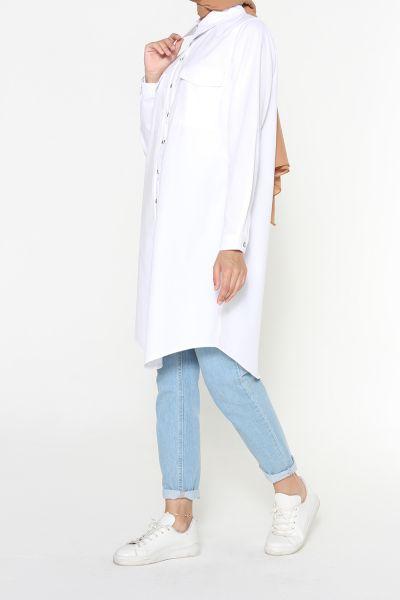 Pamuklu Nervürlü Patlı Gömlek Tunik
