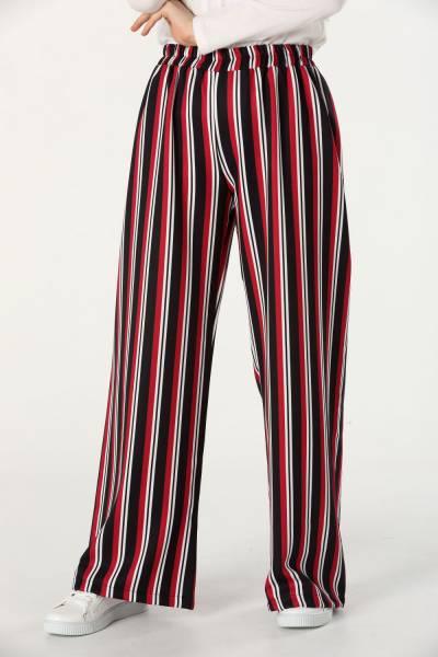 Beli Lastikli Çizgili Pantolon