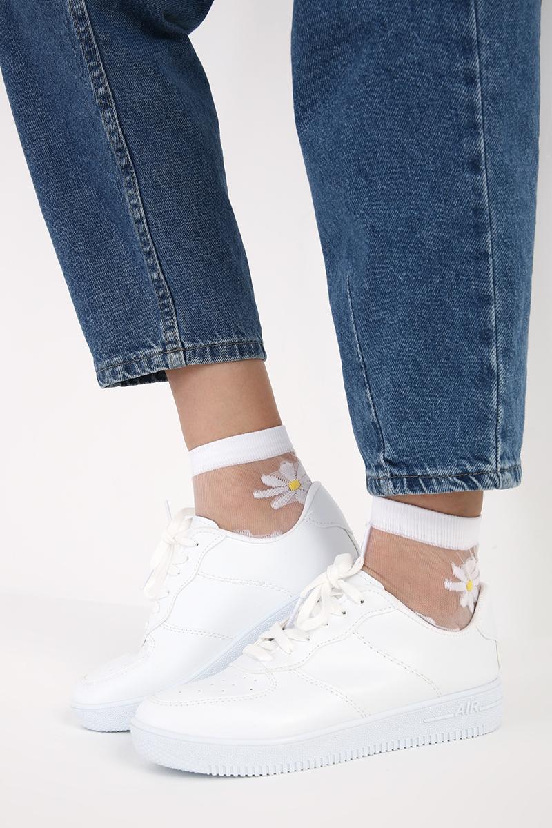 Papatya Desenli Tül Soket Çorap