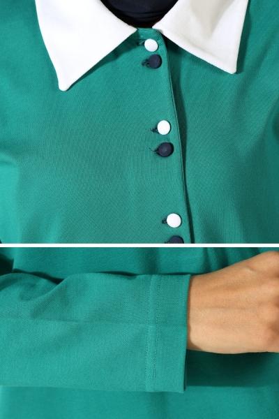 Patlı Gömlek Yaka Tunik