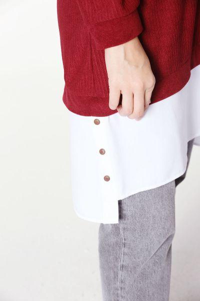 Gömlek Garnili Armalı Penye Tunik